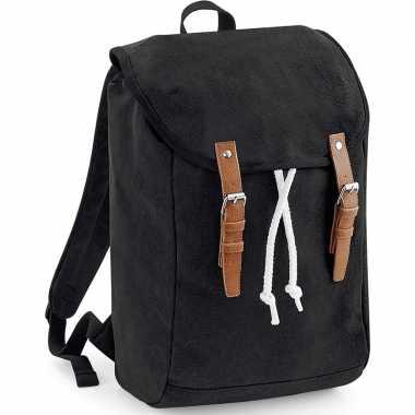 Goedkope vintage schooltas rugzak/rugtas canvas zwart