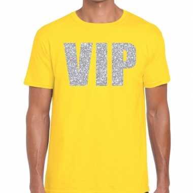 Goedkope vip zilver glitter tekst t shirt geel heren