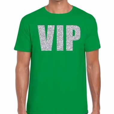 Goedkope vip zilver glitter tekst t shirt groen heren