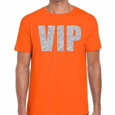 Goedkope vip zilver glitter tekst t shirt oranje heren