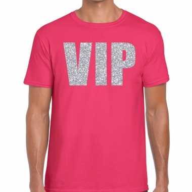 Goedkope vip zilver glitter tekst t shirt roze heren