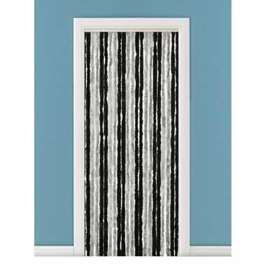 Goedkope vliegengordijn/deurgordijn kattenstaart grijs/zwart