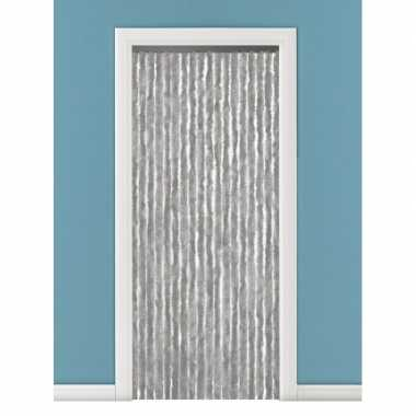 Goedkope vliegengordijn/deurgordijn kattenstaart grijs