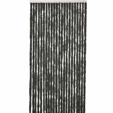 Goedkope vliegengordijn/deurgordijn kattenstaart zwart