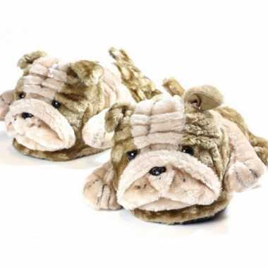 Goedkope volwassenen dieren sloffen / pantoffels bulldog