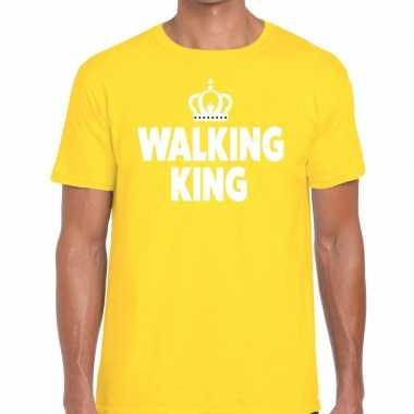 Goedkope wandel t shirt walking king geel heren
