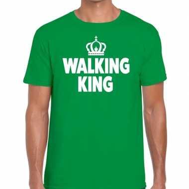 Goedkope wandel t shirt walking king groen heren