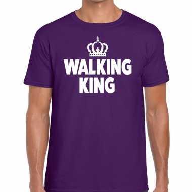 Goedkope wandel t shirt walking king paars heren