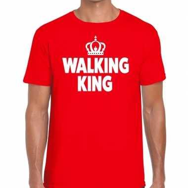 Goedkope wandel t shirt walking king rood heren