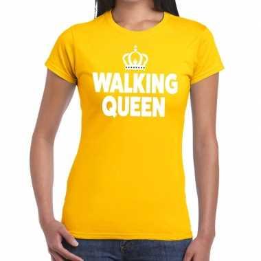 Goedkope wandel t shirt walking queen geel dames