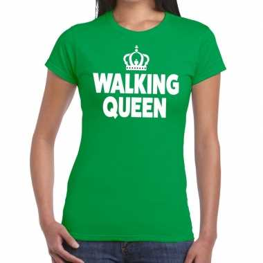 Goedkope wandel t shirt walking queen groen dames