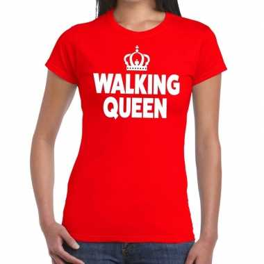 Goedkope wandel t shirt walking queen rood dames