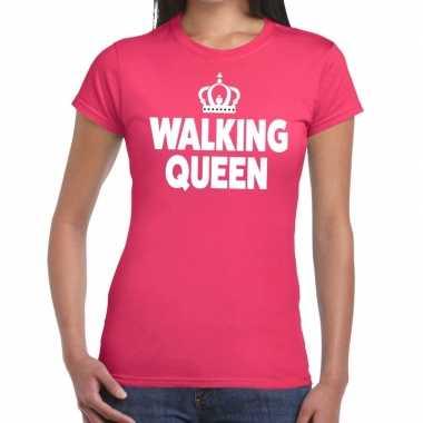 Goedkope wandel t shirt walking queen roze dames