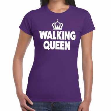 Goedkope wandel walking queen t shirt paars dames
