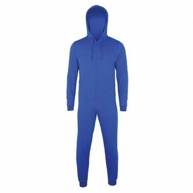 Goedkope warme onesie/jumpsuit blauw dames