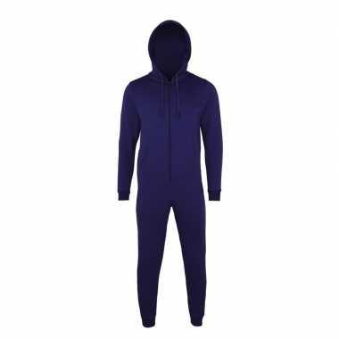 Goedkope warme onesie/jumpsuit donkerblauw dames