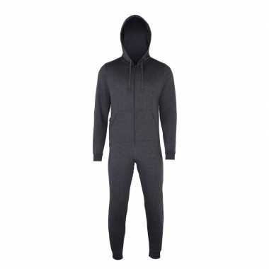 Goedkope warme onesie/jumpsuit donkergrijs dames