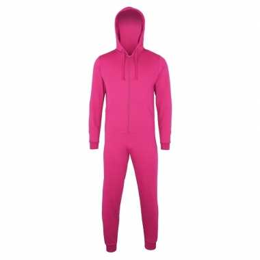 Goedkope warme onesie/jumpsuit fuchsia dames