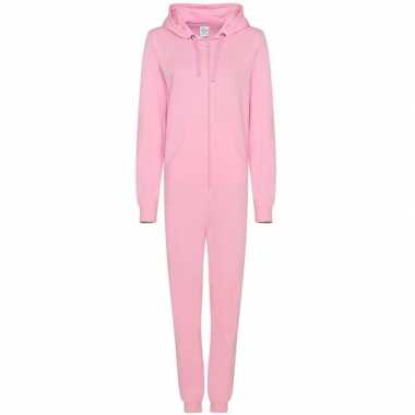 Goedkope warme onesie/jumpsuit licht roze dames