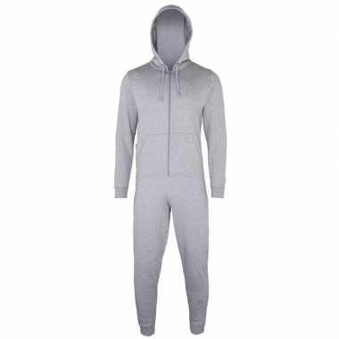 Goedkope warme onesie/jumpsuit lichtgrijs dames