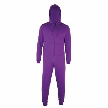 Goedkope warme onesie/jumpsuit paars dames