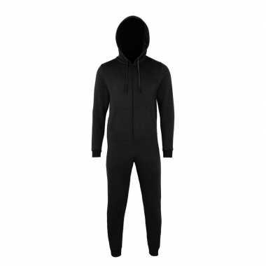 Goedkope warme onesie/jumpsuit zwart dames