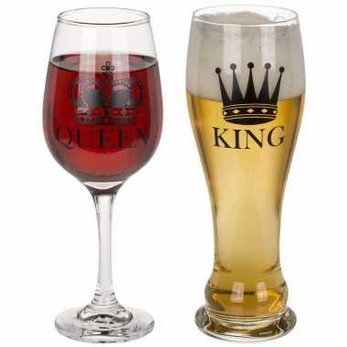 Goedkope wijnglas bierglas set king queen