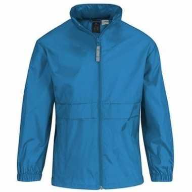 Goedkope windjas/regenjas jongens aquablauw