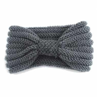 Goedkope winter gebreide haarband grijs strik dames