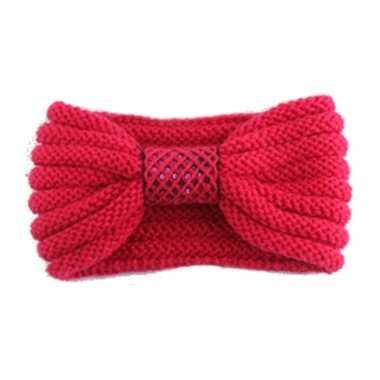 Goedkope winter gebreide haarband rood strik dames