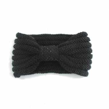 Goedkope winter gebreide haarband zwart strik dames