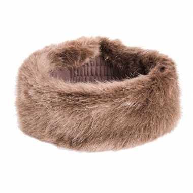 Goedkope winter hoofdband nepbont bruin dames
