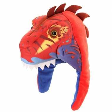 Goedkope wintermuts dinosaurus jongens rood / blauw