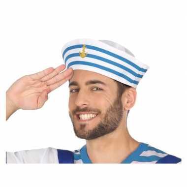 Goedkope wit/blauw matrozen verkleed hoedje volwassenen