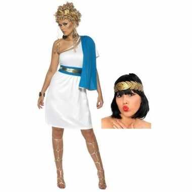 Goedkope wit blauw romeins jurkje inclusief lauwerkrans maat s