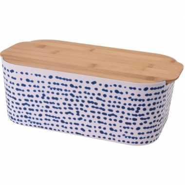Goedkope wit/blauwe bamboe broodtrommel snijplank