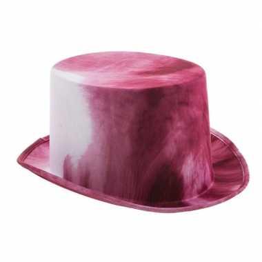 Goedkope wit/bloedrode halloween hoge hoed volwassenen