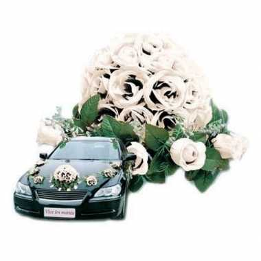 Goedkope wit bloemstuk auto bruiloft versiering