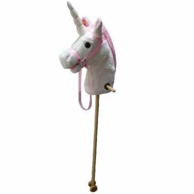 Goedkope wit/roze eenhoorn stokpaardje geluid
