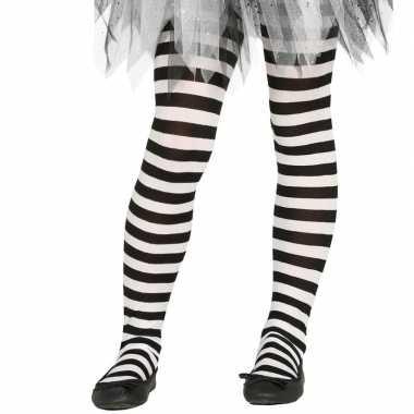 Goedkope wit/zwart gestreepte panty denier meisjes