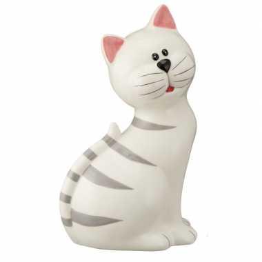 Goedkope witte kat grijze strepen spaarpot