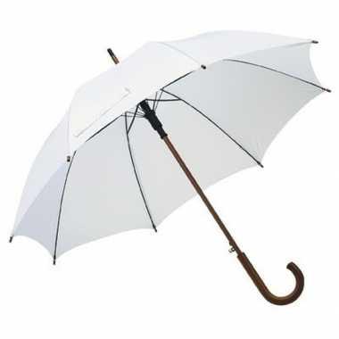 Goedkope witte paraplu houten handvat