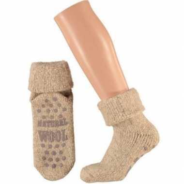 Goedkope wollen huis sokken anti slip kinderen beige maat
