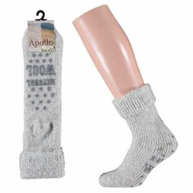 Goedkope wollen huis sokken anti slip meisjes grijs maat