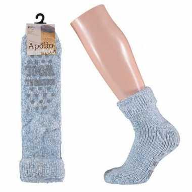 Goedkope wollen huis sokken anti slip meisjes lichtblauw maat