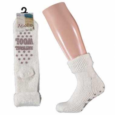 Goedkope wollen huis sokken anti slip meisjes wit maat