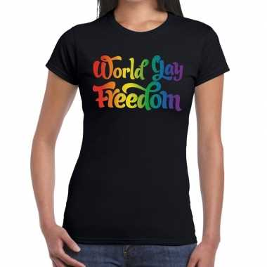 Goedkope world gay freedom gaypride shirt zwart dames