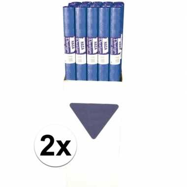 Goedkope x blauw papieren tafelkleed rol
