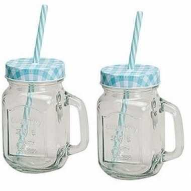 Goedkope x blauw/witte glazen drinkpotjes rietje