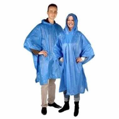 Goedkope x blauwe herbruikbare regenponcho volwassenen
